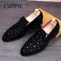 European Style Men's Loafers with Rhinestones Handmade Men's Luxury Casual Party Wedding Shoes Fashion Loafers Black Men Shoes 8