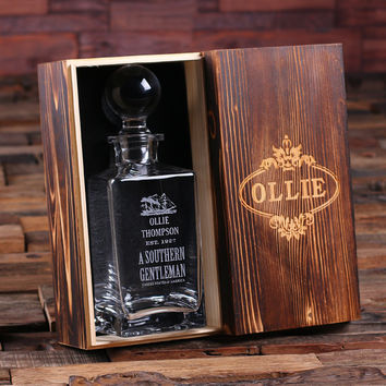 Personalized Whiskey Decanter with Global Bottle Lid and Wood Box – A