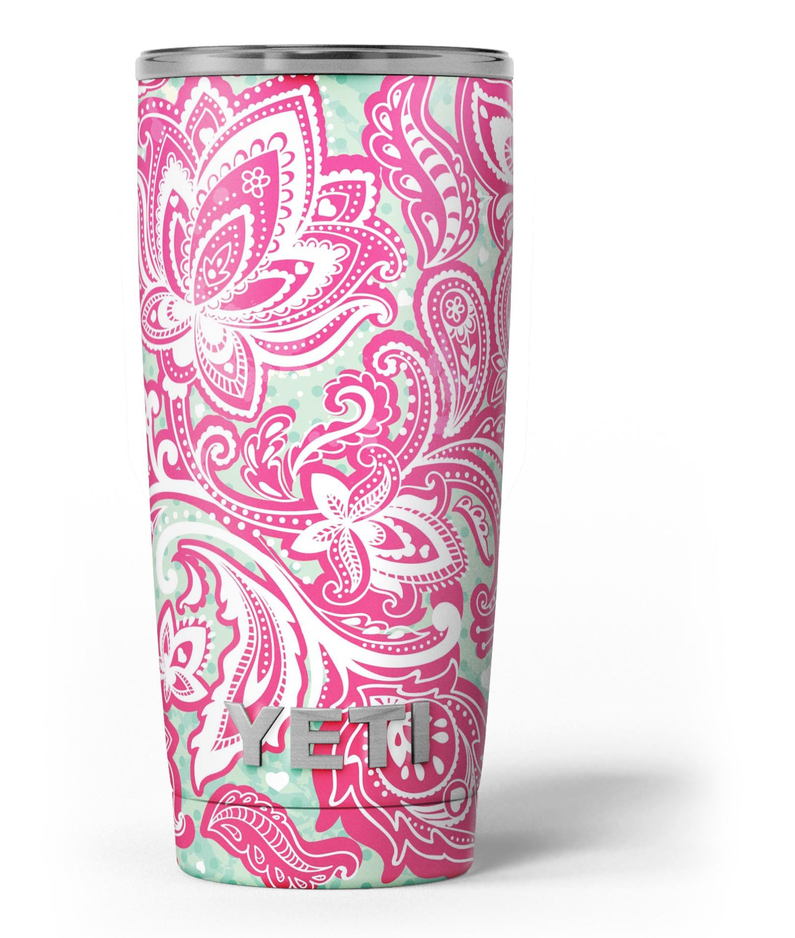 Image of Red and Green Floral Ethnic - Skin Decal Vinyl Wrap Kit compatible with the Yeti Rambler Cooler Tumbler Cups