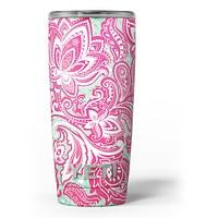 Red and Green Floral Ethnic - Skin Decal Vinyl Wrap Kit compatible with the Yeti Rambler Cooler Tumbler Cups