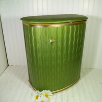Mid Century Avocado Green & Gold Boudoir Hamper - Vintage Brass Metal Textured Cushioned Vinyl Upholstery Clothes Bin - Retro Laundry Basket