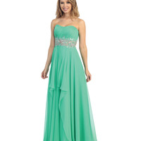 2014 Prom Dresses - Clover Green Chiffon Beaded & Ruched Strapless Gown
