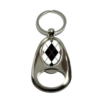 Argyle Hipster Black White - Preppy Spinning Oval Bottle Opener Keychain
