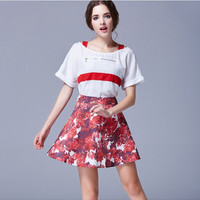 Strap Off-Shoulder Horizontal Zipper Blouse with Red Floral A-Line Skirt
