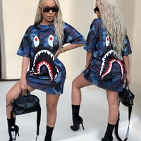 BAPE AAPE Hot Sale Women Fashion Print Short Sleeve Round Collar Dress