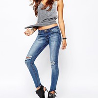 Liquor & Poker Low Rise Skinny Jeans With Ripped Knees & Distressing