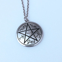 Supernatural Necklace Devil's Trap Symbol - Pendant Gift - Pentacle Minimal Design Sigil