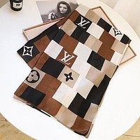 LV Louis Vuitton Fashion Monogram Print Women Scarf