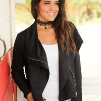 Black Suede Jacket with Zipper Detail