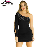 novelty Design Sexy Women Party Dress 2016 One Shoulder Bejeweled Long Sleeve Fitted Club Mini Dres LC22729 robe sexy dentelle