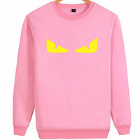 FENDI personality tide brand classic monster eyes couple models round neck pullover sweater Pink