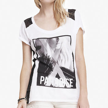 SCOOP NECK GRAPHIC TEE - LACE AND PARADISE from EXPRESS
