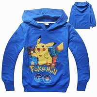 New Pokemon Go Cartnon Boys Girls Clothes Children T-Shirts Kids Baby Clothing Boys Girls Long Sleeve Sweatshirt T Shirt Tops