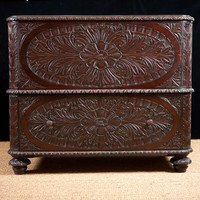 Anglo Caribbean Carved Chest in Mahogany