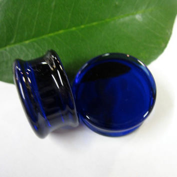 SOLID COLOR PLUGS All Colors Any Size- Ear Plugs Pyrex Hard Glass Ear adornment stretched boro