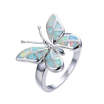 Rainbow Fire Opal Butterfly Finger Ring