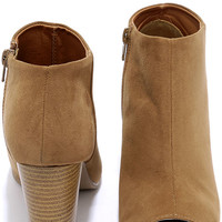 Clean Cut Taupe Suede Peep Toe Ankle Booties