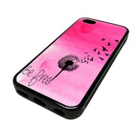 For iPhone 5C 5 C Apple Case Cover Skin Pink Cute Be Free Dandelion Birds Beach Swag DESIGN BLACK RUBBER SILICONE Teen Gift Vintage Hipster Fashion Design Art Print Cell Phone Accessories