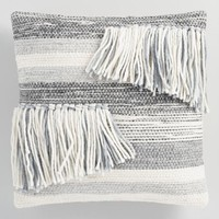 Gray Stripe Fringe Indoor Outdoor Throw Pillow