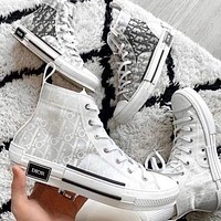 Dior CD new mesh lace-up sneakers men and women flat sports hip-hop sneakers letter high-top shoes