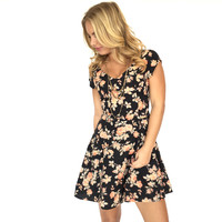 Jack by BB Dakota Chester Floral Open Back Dress - Black