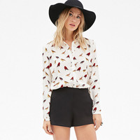 White Bird Printed Button Long Sleeves Chiffon Top