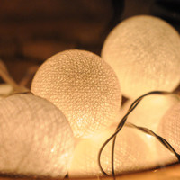20 x White cotton ball Bali string light patio outdoor decoration deco room bedroom wedding patio party Beach balcony