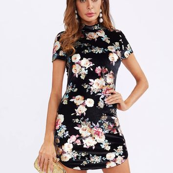 Curved Hem Floral Velvet Bodycon Dress