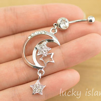 bellyring,moon and star belly button jewelry,lucky belly button rings,moon and star navel ring,glitter belly ring,friendship bellyring
