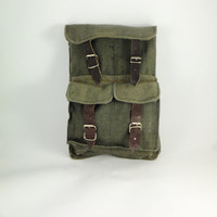 Vintage Military Green Canvas Tool Bag, Men's Waist Canvas Tool Bag, Multi-Pockets Organizer, Electrician Bench Worker's