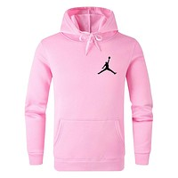Jordan Tide brand solid color wild casual sports hooded sweater Pink