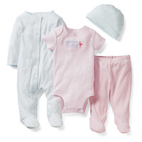 Carter's Girls 4 Piece 'Daddy's Cutie' Layette Set with Printed Footie and Hat, Striped Bodysuit and Footed Pant