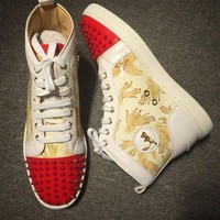 DCC3W Cl Christian Louboutin Lou Spikes Style #2193 Sneakers Fashion Shoes