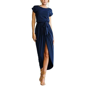 Women's Casual Short Sleeve Slit Solid Party Summer Long Maxi Dress