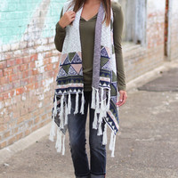 Cold Night Sweater Vest {Ivory Mix}