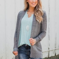 Open Front Pointelle Cardigan- Grey