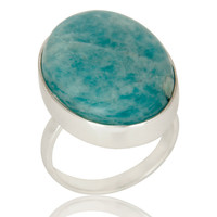 Natural Amazonite and Solid Sterling Silver Handmade Bezel Set Ring