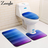 Zeegle 3Pcs/set Bathroom Mat Set Toilet Rug Color Painted Bathroom Carpets Set Anti Slip Shower Room Mats Flannel Bath Mat Set