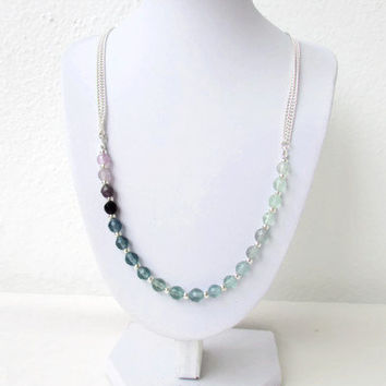 Rainbow fluorite necklace, semi precious gemstone necklace, unusual gemstone, adjustable necklace, gift for her, Handmade in the UK