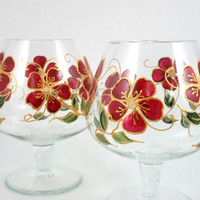 Brandy Snifters Burgundy Gold Set of 2 Glasses