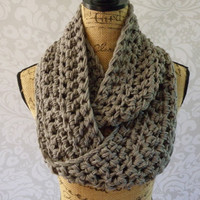 Fall Special Buy Ready To Ship Infinity Scarf Crochet Cowl Knit Gray Women's Accessories Eternity Fall Winter