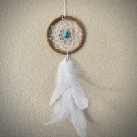 Dream Catcher for Car Mirror Brown White and by ReinaJewelers