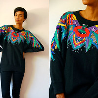 Vtg Beaded Jeweled Sequined Colorful Leather Black Knitted Sweater