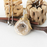 Natural Cream Color Druzy Geode Crystal Stone Pendant Necklace