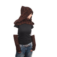 Knit Shawl/ Hand Knit Wool Shawl and Hood Mohair with a Turtleneck in Set with Handwarmers, Women Fashion by Solandia, orange brown