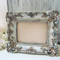 Antique White Distressed Patina Ornate 5 x 7 Picture Frame, Wedding Table Number Frame, Off White Rustic Baroque Vintage Style Frame