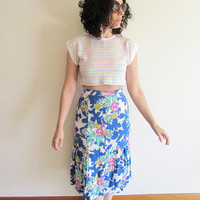 Vintage 80s 90s Pastel Candy Striped Crop Top T Shirt