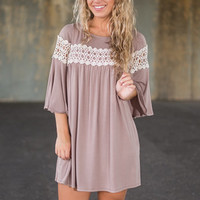 Across The Board Dress, Taupe
