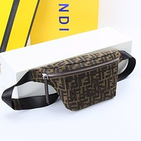 FENDI FF ZUCCA CANVAS Roma Amor WAIST PACK CROSS BODY BAG