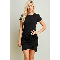 Ruched TShirt Dress, Black and White